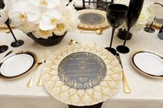 Gold table details: http://www.stylemepretty.com/little-black-book-blog/2013/06/24/detroit-waterfront-wedding-from-turquoise-and-palm-photography/ | Photography: Turquoise & Palm - http://www.turquoiseandpalm.com/