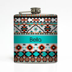 Personalized Flask Custom Name Monogram Aztec Tribal Hipster Trendy Sorority Bridesmaid Gifts Stainless Steel 6 oz Liquor Hip Flask LC-1228 on Etsy, $24.08 AUD