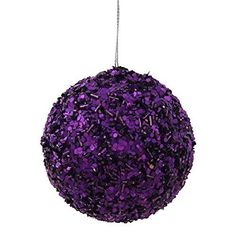 3.5'' Purple Sparkle Sequin Christmas Ball Ornament.