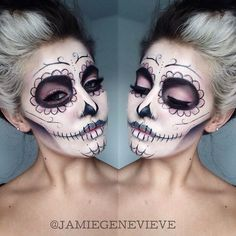 Love this Dead Sugar Skull Halloween makeup looks soo scary and amazing my favourite love it amazing.