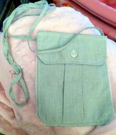 Repurposed Pocket Purse, made from Army dress shirt.