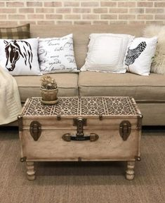 Stencil Makeover: Turn An Old Trunk Into A Coffee Table – Stencil Stories Cutting Edge Stencils shares how to makeover over a vintage trunk into a coffee table using the Moroccan Magic Tile Stencil Trunk Makeover, Coffee Table Makeover, Diy Coffee Table, Decorating Coffee Tables, Modern Coffee Tables, Furniture Makeover, Diy Furniture, Vintage Coffee Tables, Trunk Coffee Tables