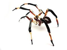 Helloween Glass Spider Figurine by Glass Symphony. Art lampwork miniatures of insects and animals for home decoration and collectible. Art black widow spider sculpture Made Of Glass Glass Figurines, Collectible Figurines, Pet Spider, Insect Art, Glass Animals, Hand Blown Glass, Farmhouse Decor, Glass Art, Best Gifts