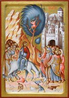 Entry into Jerusalem by Dragan Jovanovic Religious Icons, Jerusalem, Drawings, Painting, Art, Palm Sunday, Jesus Christ, Life, Sunday