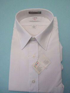 White Coram Van Heusen Men's Dress Shirt Half Sleeve Size 16 Fitted Fused Collar #VanHeusenCoram