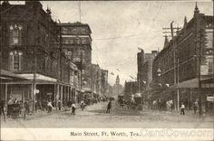 Main St., Fort Worth, Texas postcard, postmark April 18, 1909