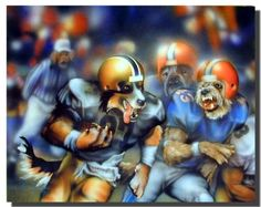 In this unique and beautiful poster displays dogs playing football looks very attractive and adds a fun touch to your wall. Perfect for your kid's room. This dogs playing football Dan McManus kids room art print poster is delivers clean image with a high degree of color accuracy.