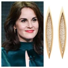 #MichelleDockery wearing #MelissaKayeJewelry Vanessa #earring in #18k yellow #gold with #diamonds #jewelry #finejewelry #yellowgold #fashion #style #celebs #celebstyle #redcarpet