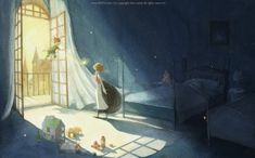 """The collection of tender illustrations for the children's books from Kim Minji, an illustrator from South Korea: new look at """"The Little Prince"""", """"Peter Pan"""" and others. Peter Pans, Peter Pan Art, Kim Min Ji, Jm Barrie, Illustrations And Posters, Children's Book Illustration, Disney Art, Storyboard, Cute Art"""
