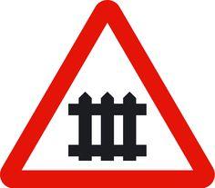Paso a nivel con barreras (p7); Peligro por la proximidad de un paso a nivel provisto de barreras o semibarreras.