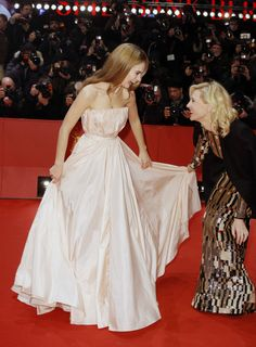 Lily James and Cate Blanchett at the 'Cinderella' premiere at the 65th Berlin International Film Festival on February 13, 2015.