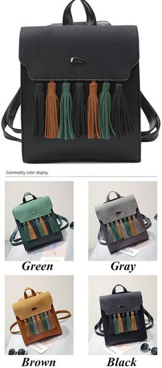b96879094d5 Simple British Style Tassel Contrast Color Flap PU Solid College Backpack  is good school bag.