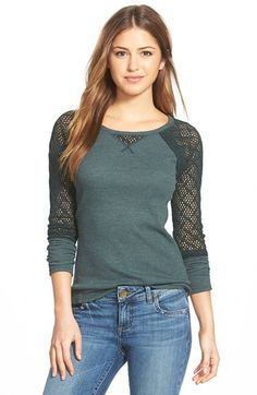 Lucky Brand Lace Sleeve Thermal Tee available at #Nordstrom