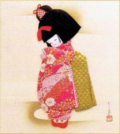 Photo1: Japanese Kurumi-e Fabric   (Warabe-Japanese Girls Series) - Osumashi