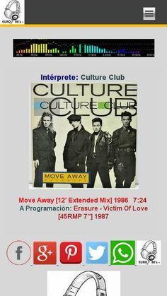 """SIETE EN FILA [Del Género New Wave & Synth Pop] Culture Club - Move Away [12' Extended Mix] 1986 Lunes y Jueves 8:00 de la noche por €URO 80's RADIO euro80s.net """"Tu Mejor Opción"""""""