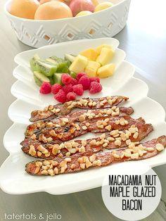 Macadamia Nut Maple Glazed Bacon Recipe (Tatertots and Jello) Jello Recipes, Bacon Recipes, Top Recipes, Party Recipes, Delicious Recipes, Healthy Recipes, Candied Bacon, Maple Bacon, Bacon Bacon