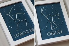 DIY constellation art. Are you still thinking of a universe/constellation/space theme?