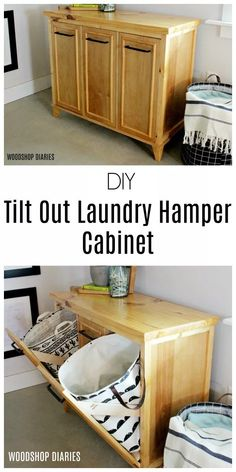 DIY Tilt Out Laundry Hamper Cabinet Need to hide your dirty laundry, and ome storage in your laundry room? Check out the free plans to build this DIY tilt out laundry hamper cabinet! Laundry Hamper Cabinet, Tilt Out Laundry Hamper, Laundry Cabinets, Laundry Room Storage, Diy Cabinets, Diy Storage, Tilt Out Hamper, Laundry Sorter Hamper, Storage Sheds