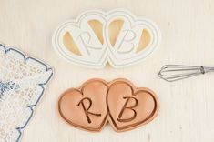 Wedding Cookie Cutter Double Heart Shaped Cookies Personalized on Etsy, $35.00