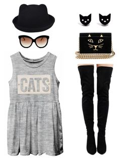 """""""I'm a cat lady"""" by ayukatz ❤ liked on Polyvore featuring HomArt, Italia Independent, Charlotte Olympia, Finest Imaginary, cat and oontood"""