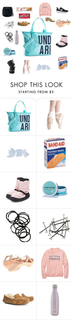 """""""What's in my dance bag"""" by avaodom ❤ liked on Polyvore featuring beauty, Under Armour, Bloch, Monki, NIKE, UGG Australia and S'well"""
