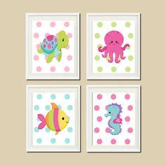 Baby Girl Nautical Ocean Sea Animals Turtle Seahorse Octopus Fish Set of 4 Prints Girl Nursery Crib Bedding Bathoom Wall Art Decor Picture on Etsy, $37.00