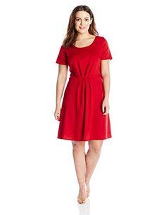 Star Vixen Womens PlusSize Short Sleeve StarburstCinch Pleat Ponte Skater Dress Red 3X -- You can get more details by clicking on the image.