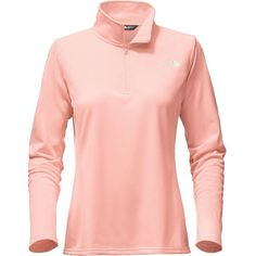 The North Face Women's Tech Glacier 1/4 Zip Top ($55) ❤ liked on Polyvore featuring activewear, activewear tops, tops, tropical peach, pink sportswear and the north face
