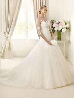 wedding dresses with sleeves | ... > Silhouette >Organza Sweetheart Ball Gown 3/4 Sleeves Wedding Dress