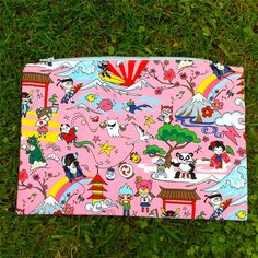 Kawaii Japanese characters, large pink pencil case or storage pouch | LaughLand | madeit.com.au