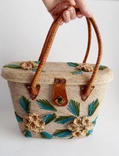 Vintage Straw Purse Kitsch 1960's Raffia Flowers Leather Handles Green Blue Embroidery Summer Purse
