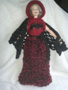 robe avec tricotin mécanique. châle au crochet. réalisation Mireille  VALLAZ