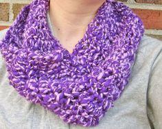 Purple Handspun Merino Wool Cowl by thepinkwoobie on Etsy