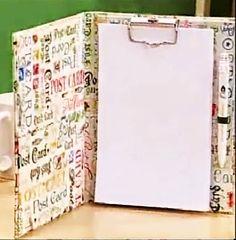 Olá, pessoas do Bem!   Vamos aprender a fazer uma pasta para anotações feita em cartonagem? Na verdade. duas.  A criação do 1º é da Claudia ...