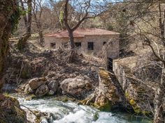 Stromi is the village of Gkiona, where is situated the Cave of the Resistance and the Waterfall of Kremasis. Plane Tree, Firs, Stone Houses, Greece Travel, Banks, Travelling, Waterfall, Greek, Traditional