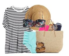 """""""Beach day"""" by amberfmillard-1 ❤ liked on Polyvore featuring T By Alexander Wang, Flora Bella, Aerie, The Beach People, Sun Bum, Illesteva, Kate Spade, J.Crew, Target and Birkenstock"""