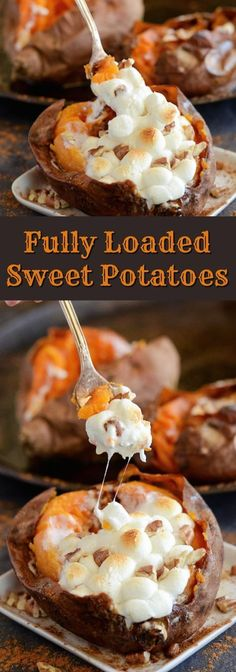 Fully Loaded Sweet Potatoes - butter, brown sugar, cinnamon, pecans and marshmallows!