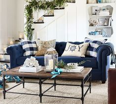 Updating your living room? Shop Pottery Barn for modern and classic living room ideas. Find living room furniture and decor and create the ultimate space. Blue Christmas Decor, Christmas Living Rooms, Christmas Room, Coastal Christmas, Xmas, Christmas Ornaments, Blue Couch Living Room, Navy Blue Living Room, Living Room Decor