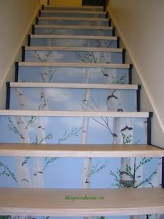 Basement Steps Painted Slice Of Birch Forest Rises Up The Staircase