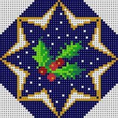 Christmas holly cross stitch.