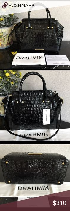 """😎😎BRAHMIN😎BLACK CROC """"THALIA"""" 😎LARGE SATCHEL😎 NWT Brahmin Black """"Thalia"""" Large Satchel  $365 + tax Retail  Sophisticated bag in beautiful croc embossed leather with goldtone hardware. Stylish pleats and cinched down top corners makes this one a winner!!  Comes with Brahmin dust bag, Registration card and adjustable shoulder strap  Convenient back slide in pocket   Full zip closure   Bottom protective feet   2 slip pockets,zipper compartment, key clip,pen pocket  Strap drop 16""""…"""