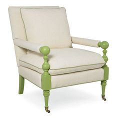 classic chair with bright lime green twist.