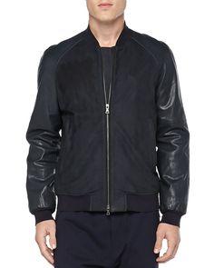Leather Baseball Jacket, Navy - Vince