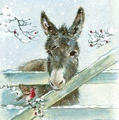 Bird and donkey illustration Illustration Noel, Christmas Illustration, Illustrations, Christmas Scenes, Christmas Pictures, Christmas Art, Christmas Donkey, Christmas Animals, Animal Paintings
