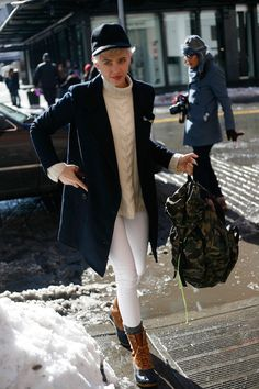 Laurel Pantin - yes to the duck boots, camo, and cable knit