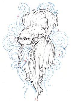 """black and white betta fish tattoo""的图片搜索结果 Beta Fish Drawing, Fish Drawings, Art Drawings, Betta Fish Tattoo, Fish Tattoos, Tatoos, Coloring Books, Coloring Pages, Drawn Fish"
