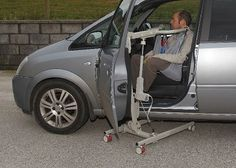 Hoisting into the front seat of a car with the new Portable Travel Hoist from Dolphin Lifts