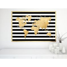 """36x24"""" Printable world map in faux gold foil and black white stripes,... (84 SEK) ❤ liked on Polyvore featuring home, home decor, wall art, gold home decor, printable wall art, gold wall art, black poster ve map poster"""