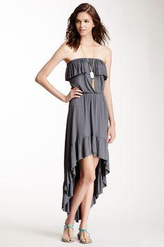 Strapless Ruffled Hi-Lo Dress ( 4 more colors)