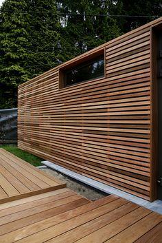 Yves Deneyer - Menuiserie Bois House Paint Exterior, Exterior Siding, Exterior Design, Wood Facade, Timber Cladding, Home Garden Design, House Design, Backyard Studio, Garden Buildings